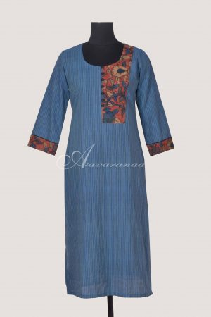 Blue handloom cotton kurta with kalamkari-0