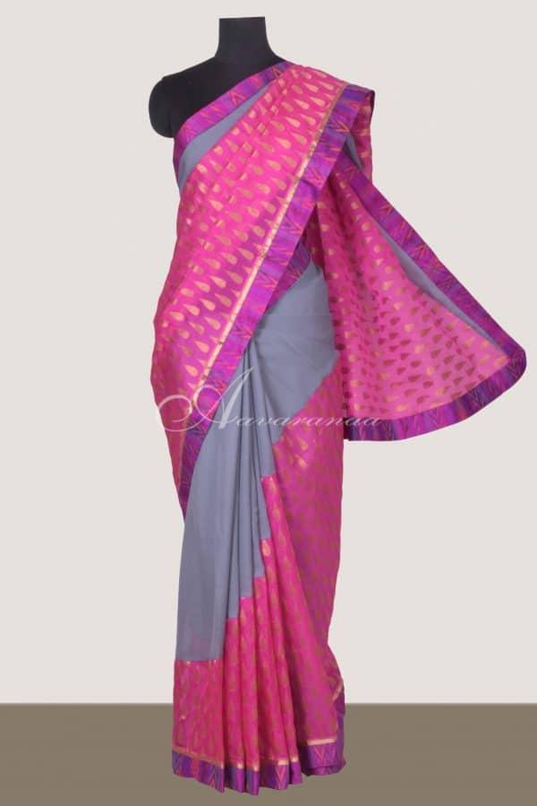 Grey chiffon pink silk kota fusion saree-0