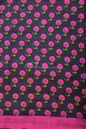 Mustard chiffon printed tussar fusion saree-14681