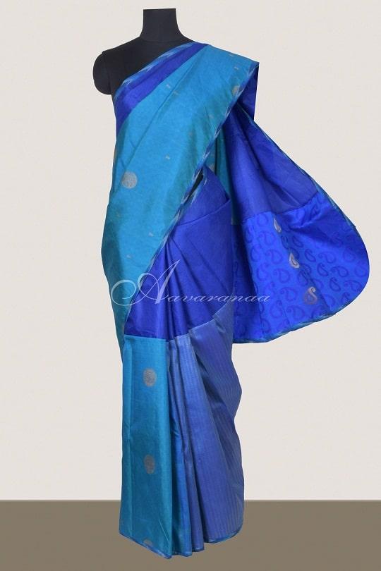 Bright blue organza and silk fusion saree-0