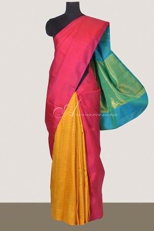 Colourful half and half kanchi silk saree-0