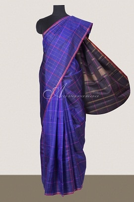 MS Blue kanchi silk saree with checks-14708