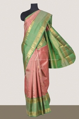 Onion pink with light green kanchi silk saree-0