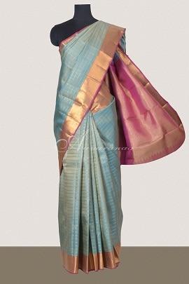 Light blue kanchipuram silk saree-0