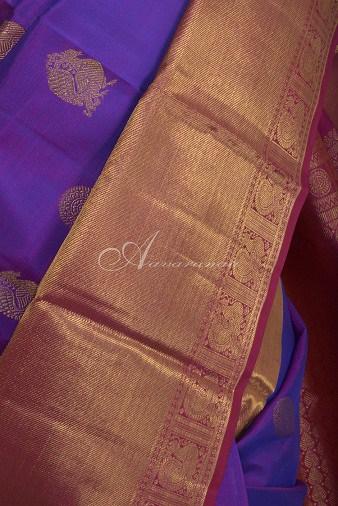 Voilet kancheepuram silk with pink zari border-14723