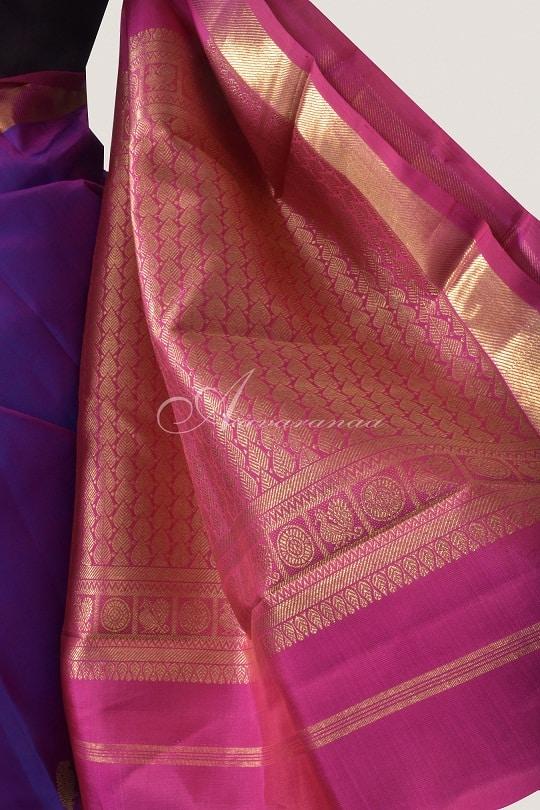 Voilet kancheepuram silk with pink zari border-14721