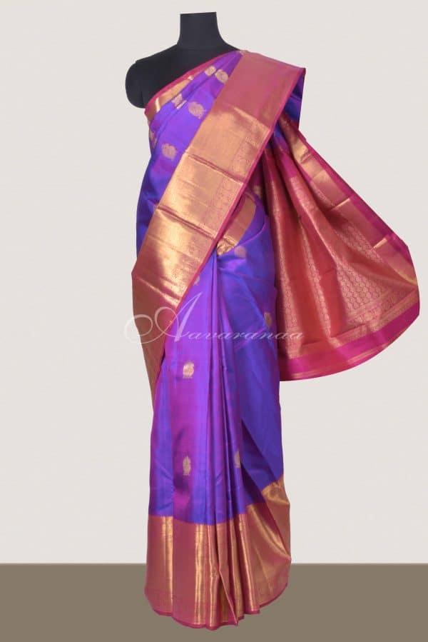Voilet kancheepuram silk with pink zari border-0