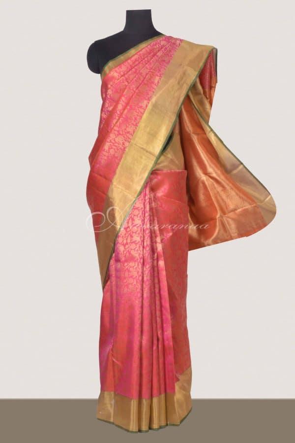 Neon Pink kanchipuram silk saree-0