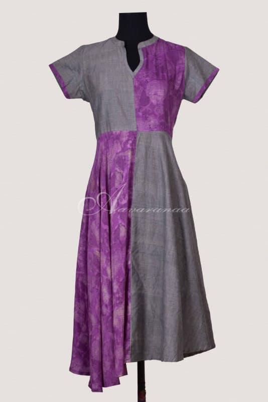 Purple and grey anarkalli style kurta-0