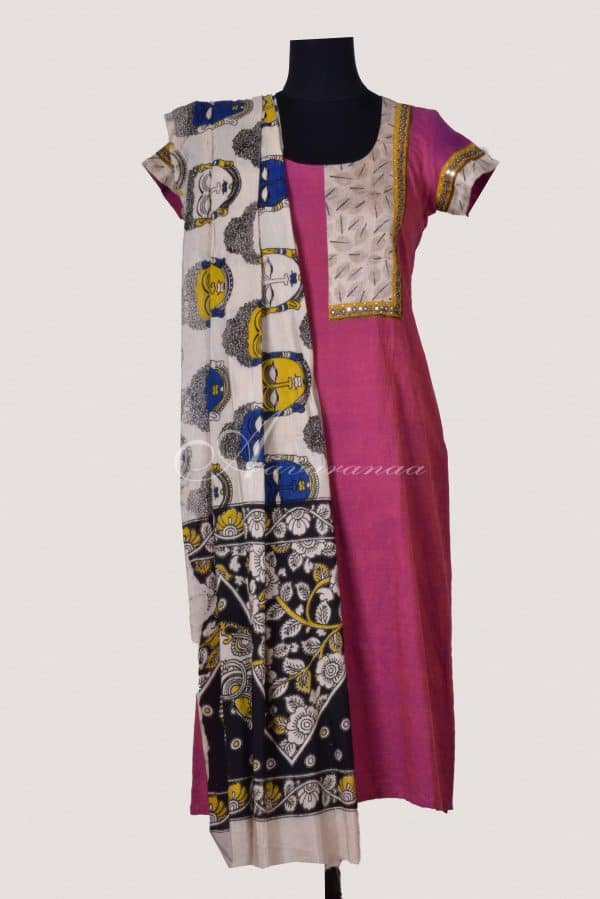 Pink cotton suit with kalamkari dupatta-0