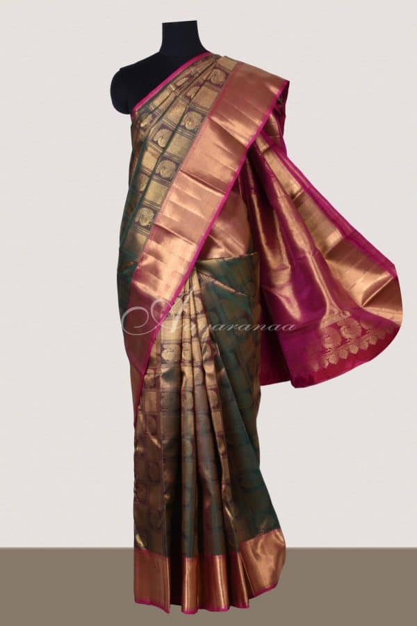 Mandulir green and pink kancheepuram silk saree-0