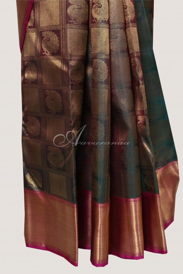 Mandulir green and pink kancheepuram silk saree-14768