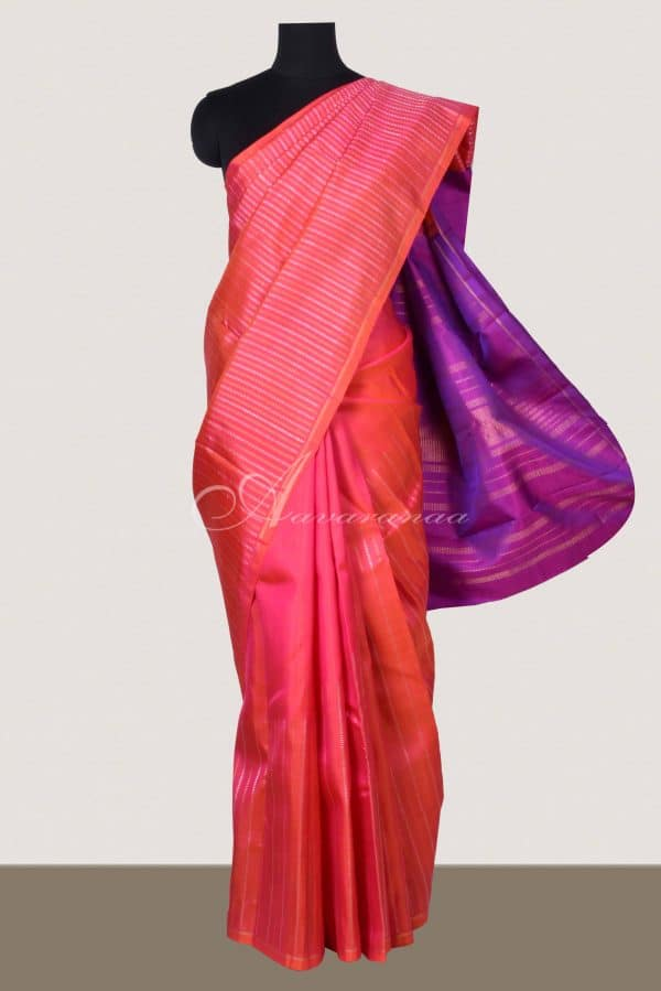 Peach raising style kanchipuram silk saree -0