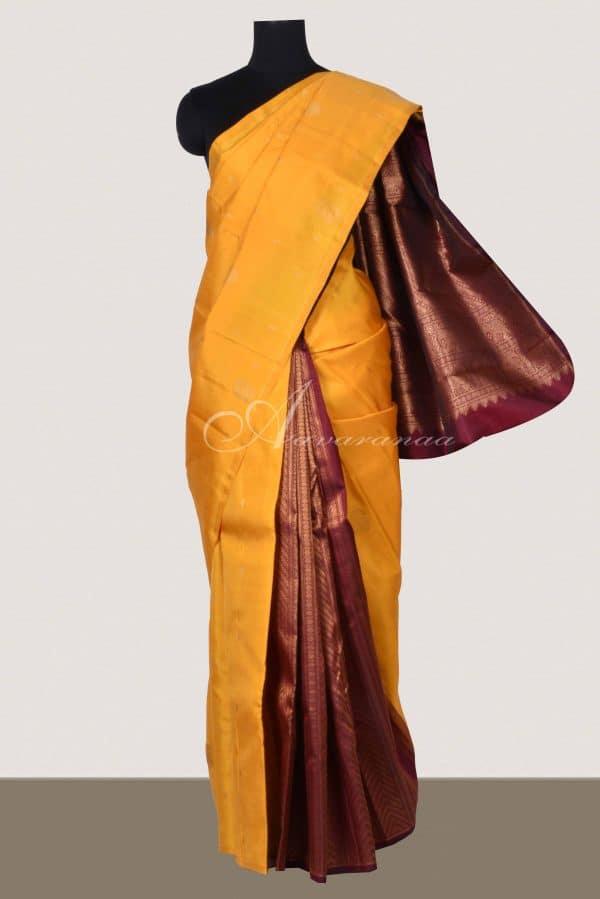 Yellow and maroon partly pallu kanchi saree-0