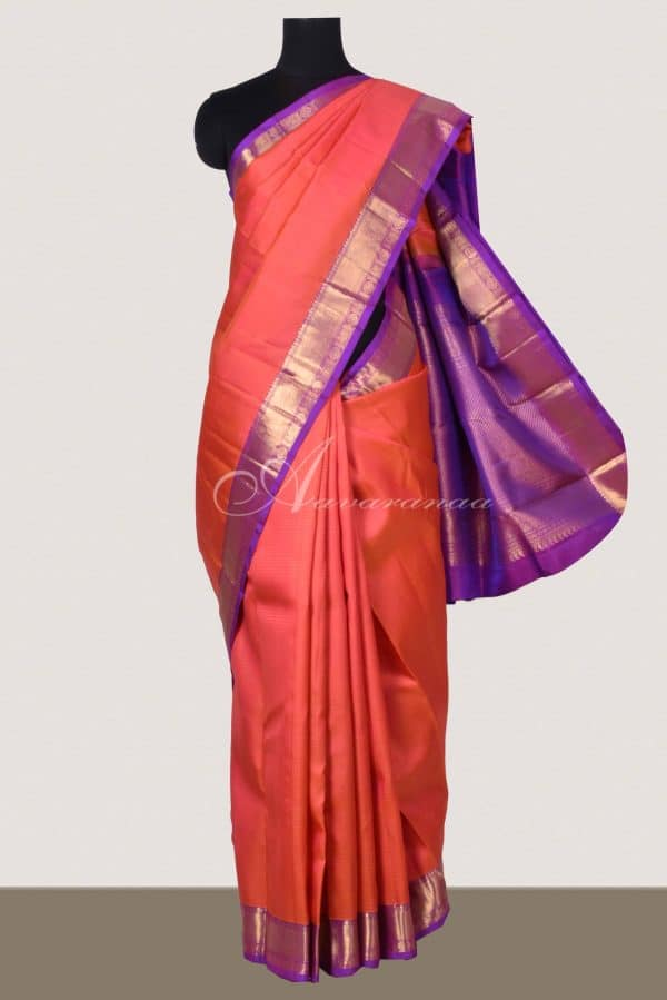 Peach raising style kanchipuram silk saree -14794