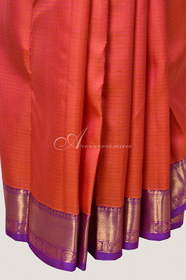 Peach raising style kanchipuram silk saree -14793