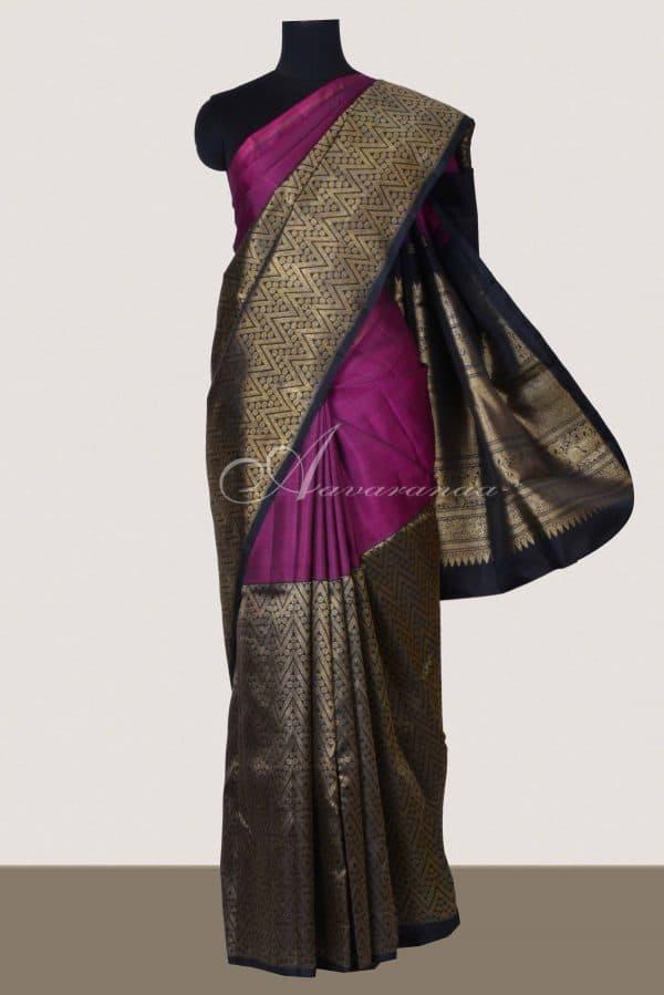 Purple and black half and half kanchipuram silk saree-0