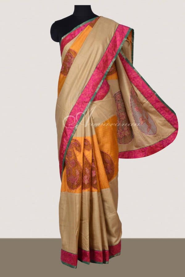 Yellow silk and beige cotton tussar fusion saree with cutwork-0