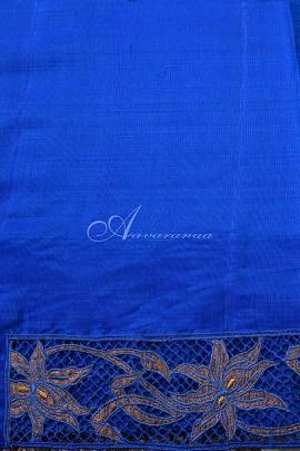 Blue kanchi silk saree with cutwork pallu-14831