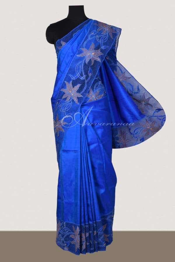 Blue kanchi silk saree with cutwork pallu-0