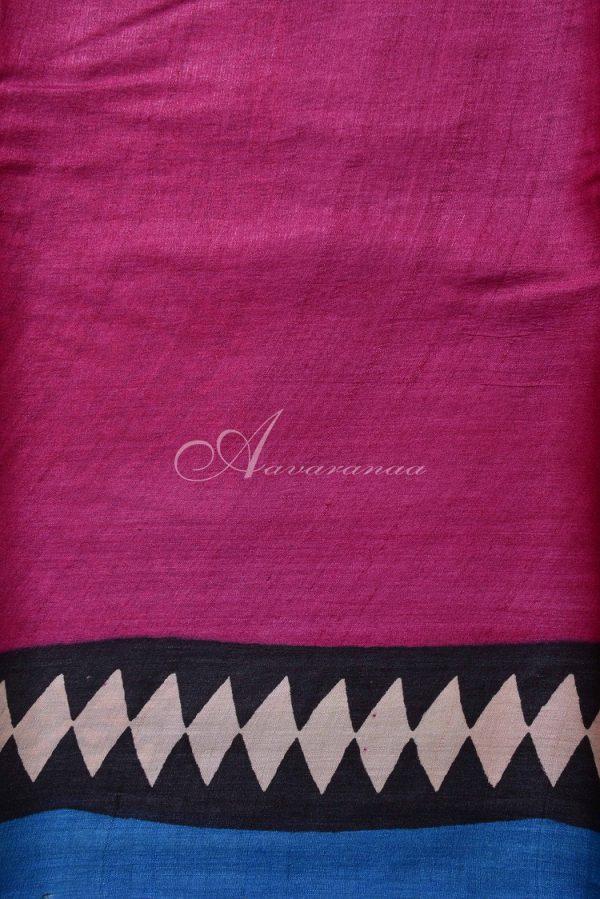 Black and multi-color Tussar saree-14877