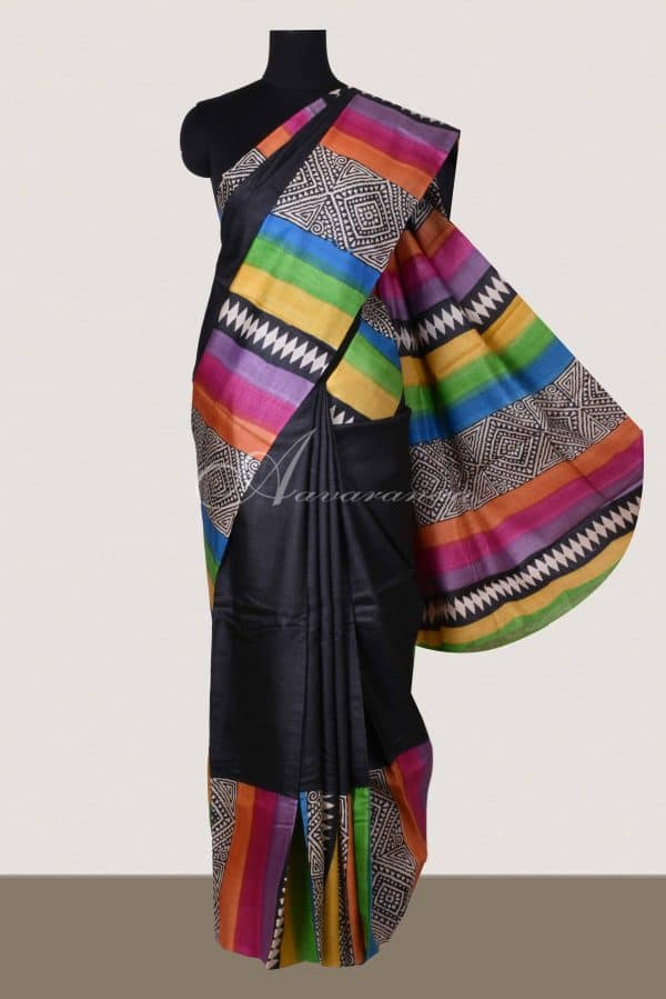 Black and multi-color Tussar saree-0