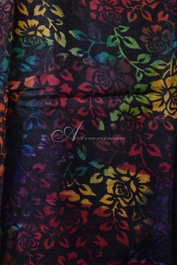 Grey tussar with multi-color printed saree-14884
