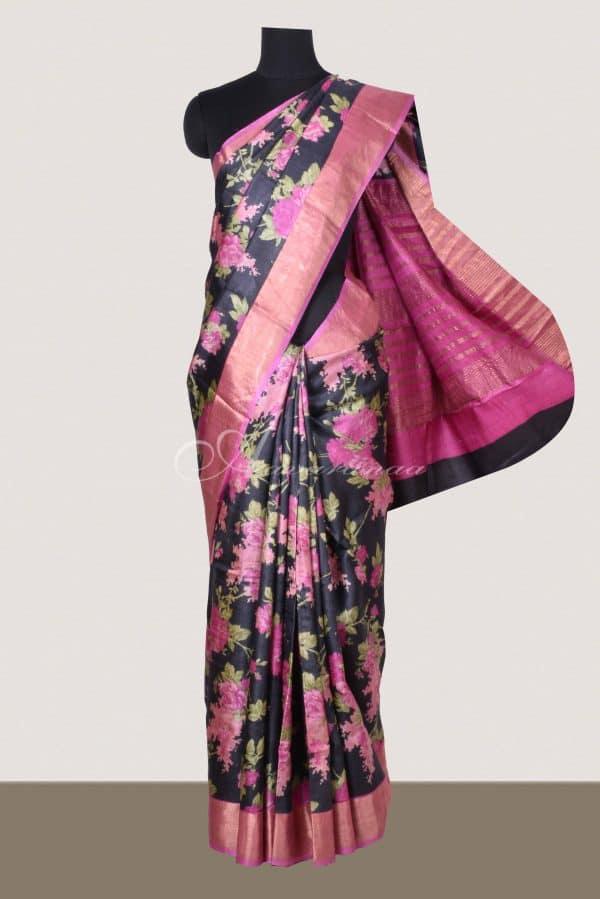 Black tussar saree with floral prints-0