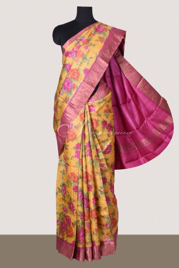Mustard tussar saree with pink tissue zari border-0