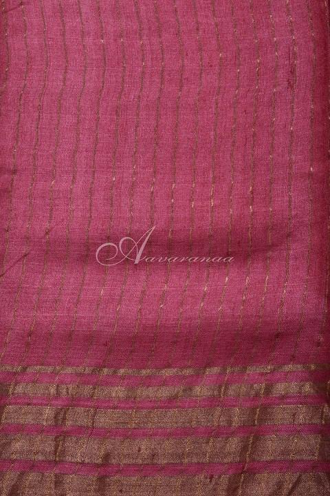 Grey tussar saree with peach tissue zari border-14949