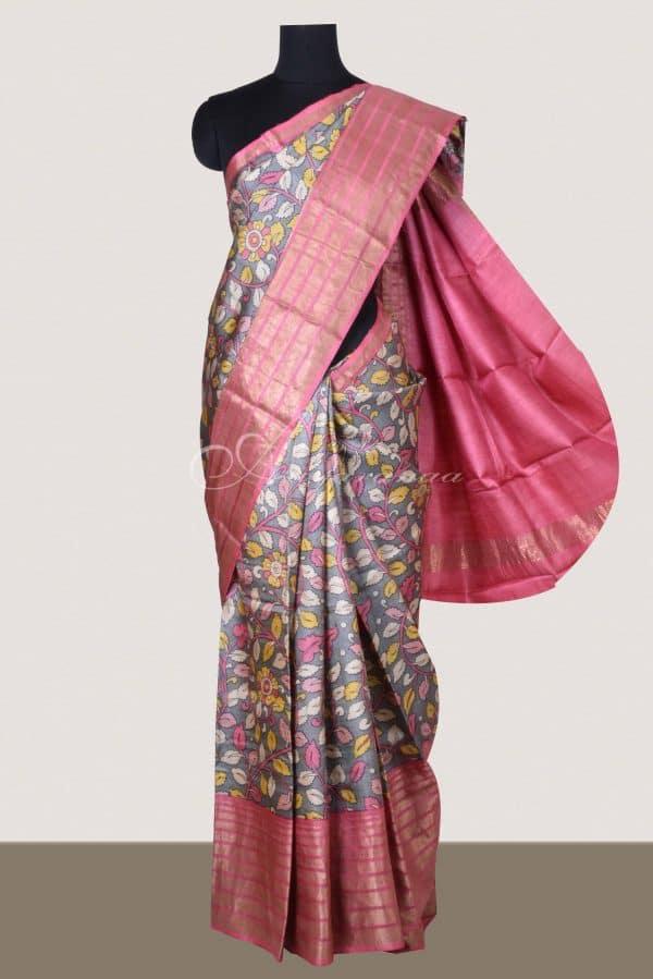 Grey tussar saree with peach tissue zari border-0