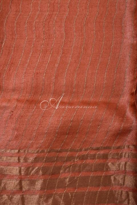 Grey tussar saree with orange tissue zari border-14952