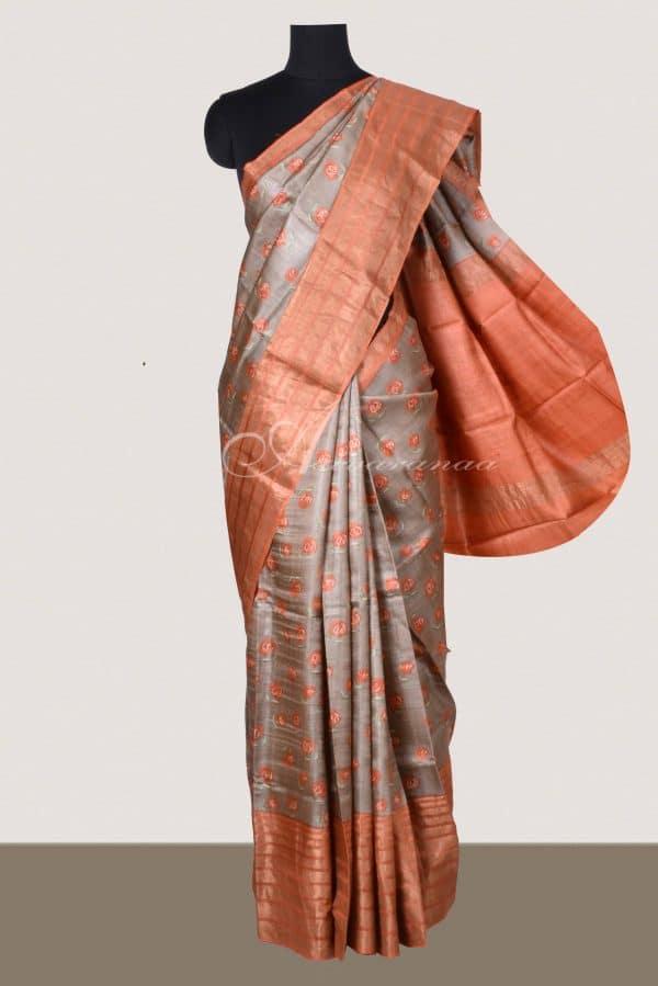 Grey tussar saree with orange tissue zari border-0
