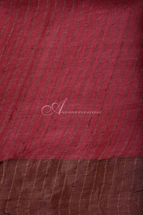 Black tussar saree with red tissue zari border-14961