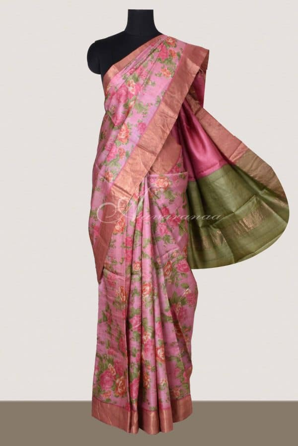 Pink tussar saree with pink tissue zari border-0
