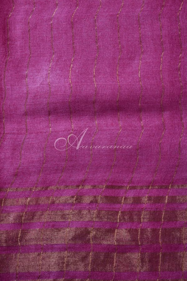 Grey tussar saree with pink tissue zari border-14976