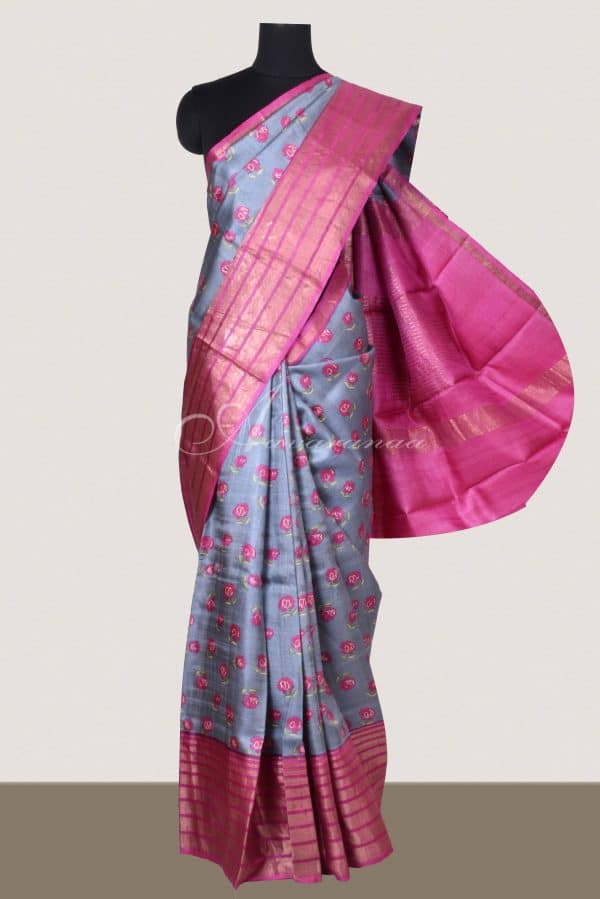 Grey tussar saree with pink tissue zari border-0