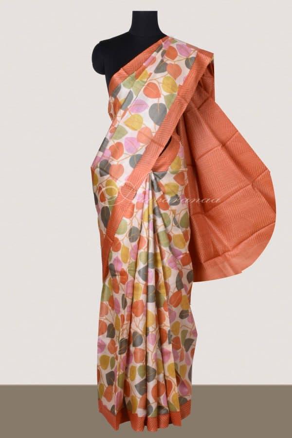 Beige tussar saree with leaf print saree-0