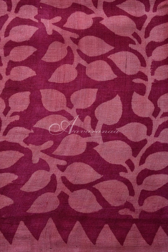 Pink tussar with leaf border saree-14903