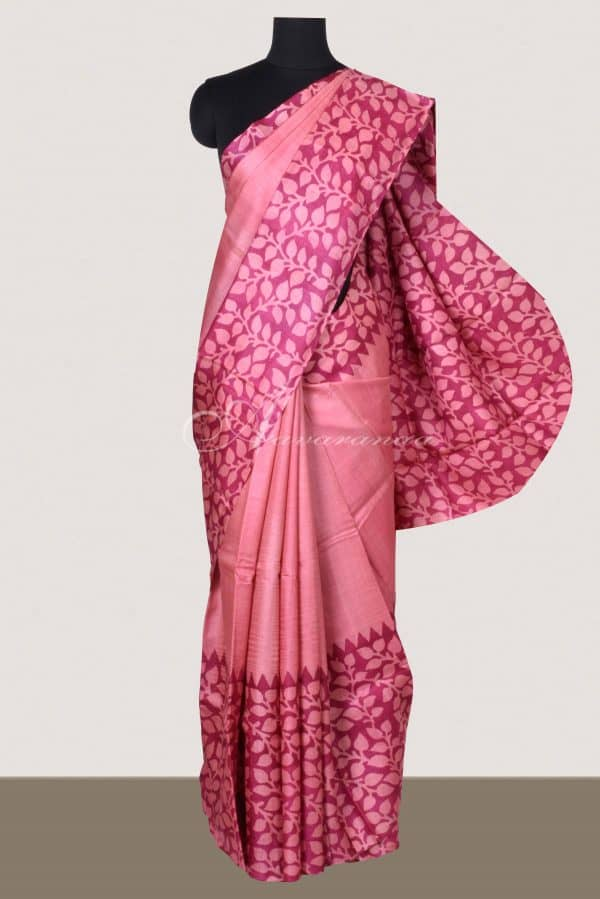 Pink tussar with leaf border saree-0
