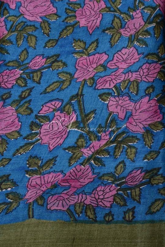 Pink tussar with floral print border saree-14907