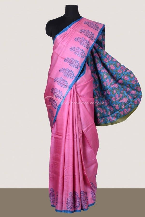 Pink tussar with floral print border saree-0
