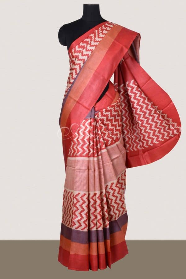 Red and orange geometrical printed saree-0