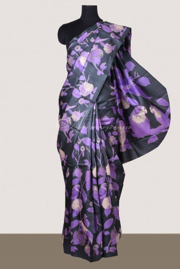 Black and purple tussar saree-0