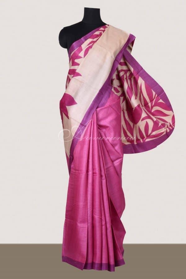 Pink and beige block printed tussar saree-0