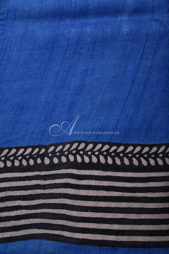 Blue and beige block printed tussar saree-14935