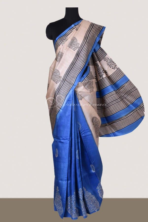 Blue and beige block printed tussar saree-0