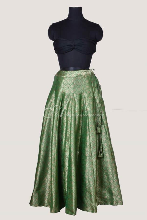 Green hand woven brocade skrit-0