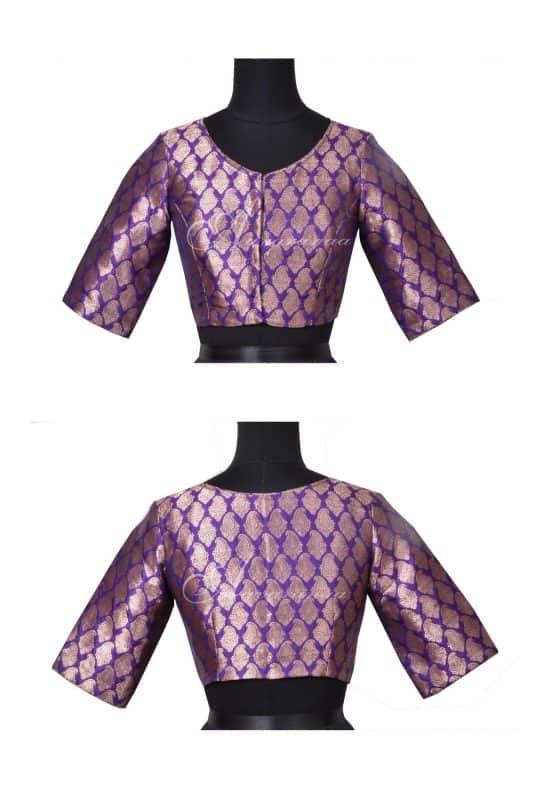 Violet brocade blouse-0