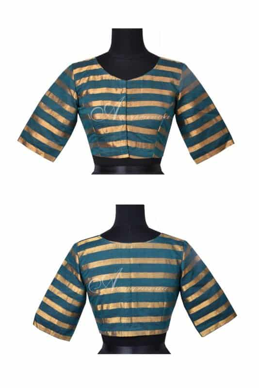 Peacock blue stripes cotton blouse-0